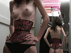 skinny anorexic girls posiing and fucking