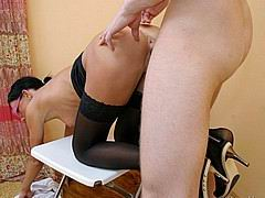 skinny slut in black stockings fucked hard from Thin Fetish